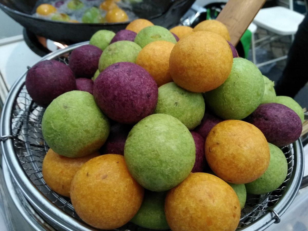 cara membuat bola ubi kopong ungu